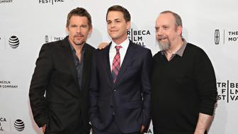 NEW YORK, NY - APRIL 17:  Actors Ethan Hawke, Johnny Simmons and Paul Giamatti attend 'The Phenom' Premiere during the 2016 Tribeca Film Festival at SVA Theatre 1 on April 17, 2016 in New York City.  (Photo by Cindy Ord/Getty Images for Tribeca Film Festival)