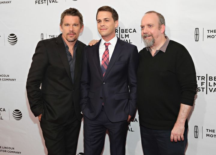"""Ethan Hawke, Johnny Simmons and Paul Giamatti attend the Tribeca Film Festival premiere of """"The Phenom."""""""