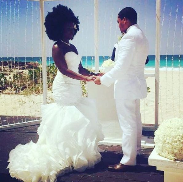 Nakyia Whitty and Jay Davis at their beach wedding ceremony in Punta Cana.