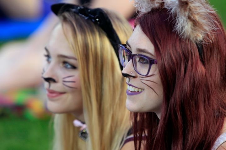 Sophia Bloss and Glenna Clegg of Roseville, Minnesota, painted their faces to attend the 4th annual Internet Cat Video Festiv