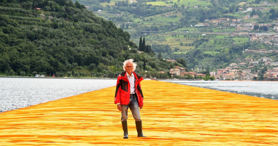 "Artist Christo attends the presentation of his installation the ""The Floating Piers"" on Jun. 16, 2016, in Sulzano, Italy."