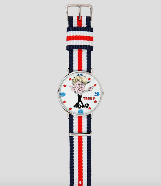 "This <a href=""https://revolutionwatch.com/products/donald-trump-watch"" target=""_blank"">Trump-themed watch</a> is like Trump i"