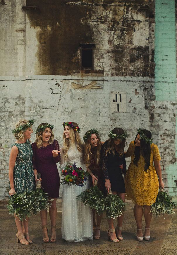 """Matchy-matchy bridesmaids uniforms are no longer required, with <a href=""""http://www.huffingtonpost.com/entry/mismatched-bridesmaids-dresses-that-totally-work_us_55ba7745e4b0d4f33a01f8ca"""">many bridal parties</a> opting fordresses in anassortment of colors and styles."""