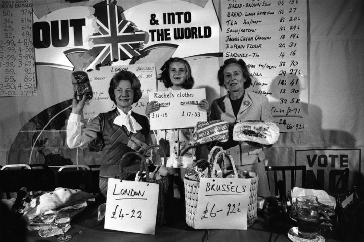 """""""Out"""" campaigners in May 1975. In the end,67 percent of British voters chose to stayin the European Economic Comm"""