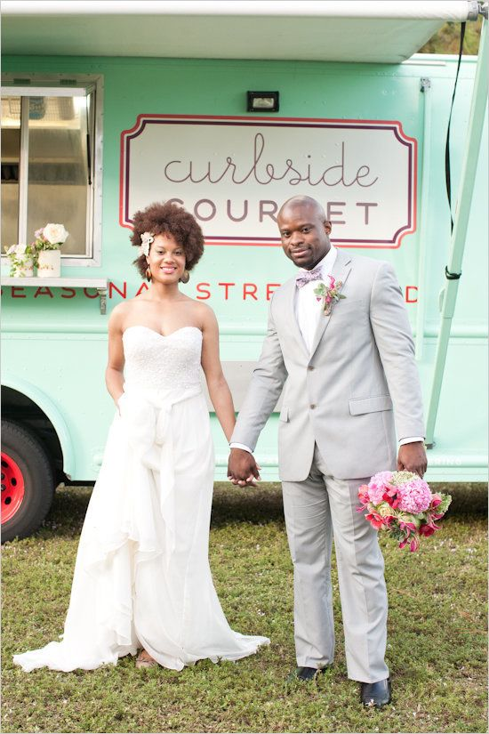 """In lieu of a formal sit-down dinner, more couples are experimenting with casual -- and delicious! -- <a href=""""http://www.stylemepretty.com/new-york-weddings/new-york-city/brooklyn/2015/08/04/industrial-chic-brooklyn-food-truck-wedding/"""" target=""""_blank"""">food truck fare</a>.&nbsp;"""