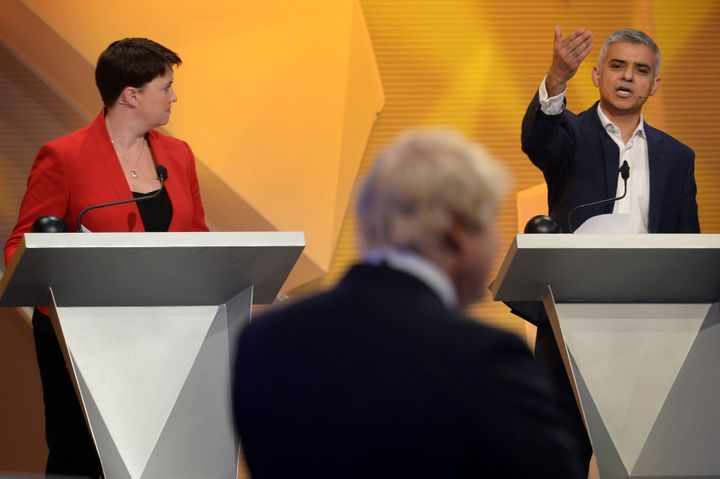 Scottish Conservative leader Ruth Davidson, left, looks on as London Mayor Sadiq Khan clashes with Boris Johnson, the main le