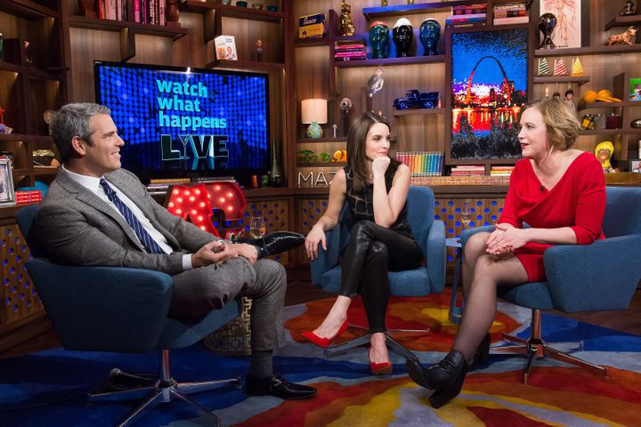 "Tina Fey and Kim Barker appear on Andy Cohen's ""Watch What Happens Live."""