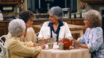 THE GOLDEN GIRLS -- 'Diamond in the Rough' Episode 22 -- Pictured: (l-r) Estelle Getty as Sophia Petrillo, Rue McClanahan as Blanche Devereaux, Bea Arthur as Dorothy Petrillo Zbornak, Betty White as Rose Nylund  (Photo by Gary Null/NBC/NBCU Photo Bank via Getty Images)