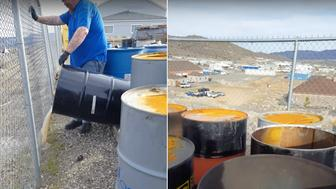 A video shows men dumping what they describe as chemical waste as part of their job.