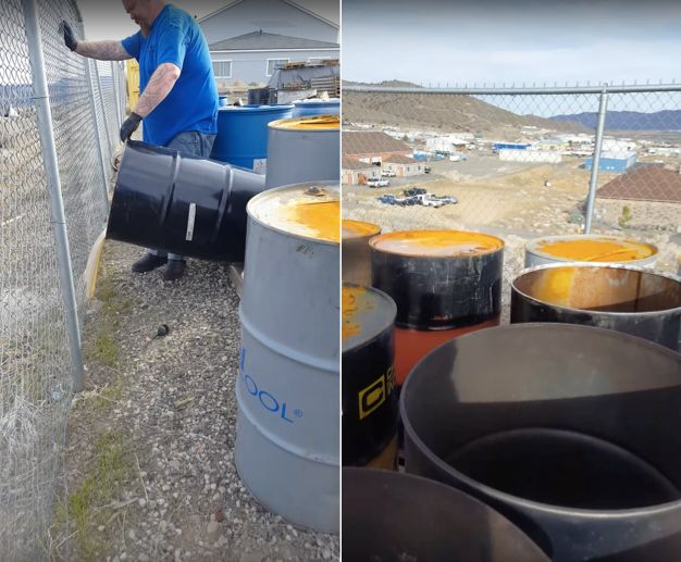 A video shows men dumping what they describe as chemical waste, claiming it's at the behest of their employer.