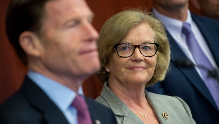 Rep. Chellie Pingree (center) and Sen. Richard Blumenthal (left) are pushing a bill to standardize all&nb