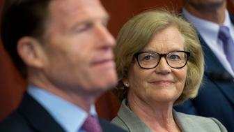 UNITED STATES - MAY 18: Rep. Chellie Pingree, D-Me., and Sen. Richard Blumenthal, D-Conn., conduct a news conference in the Capitol Visitor Center to introduce legislation that would standardize food date labeling to help reduce food waste, May 18, 2016. (Photo By Tom Williams/CQ Roll Call)