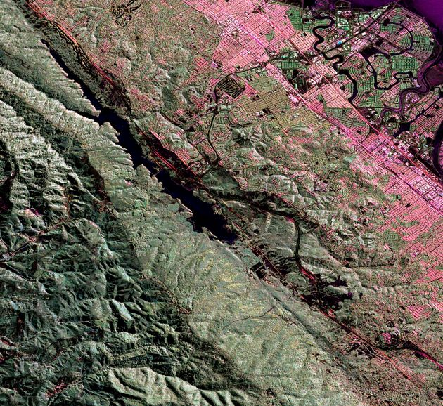 An Uninhabited Aerial Vehicle Synthetic Aperture Radar image of the San Andreas fault in the San Francisco...