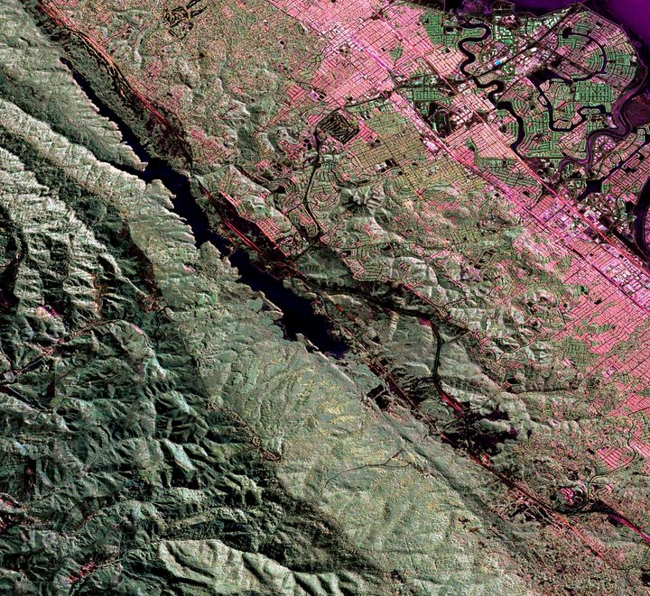An Uninhabited Aerial Vehicle Synthetic Aperture Radar image of the San Andreas fault in the San Francisco Bay area just west