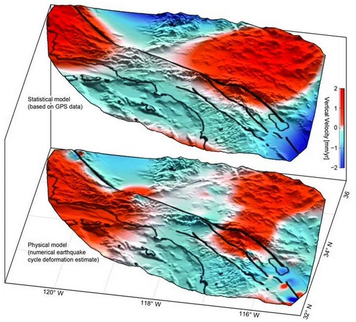Instances of uplift (in red) and subsidence (in blue) confirm researchers' predictions of motion in the San Andreas Fault Sys