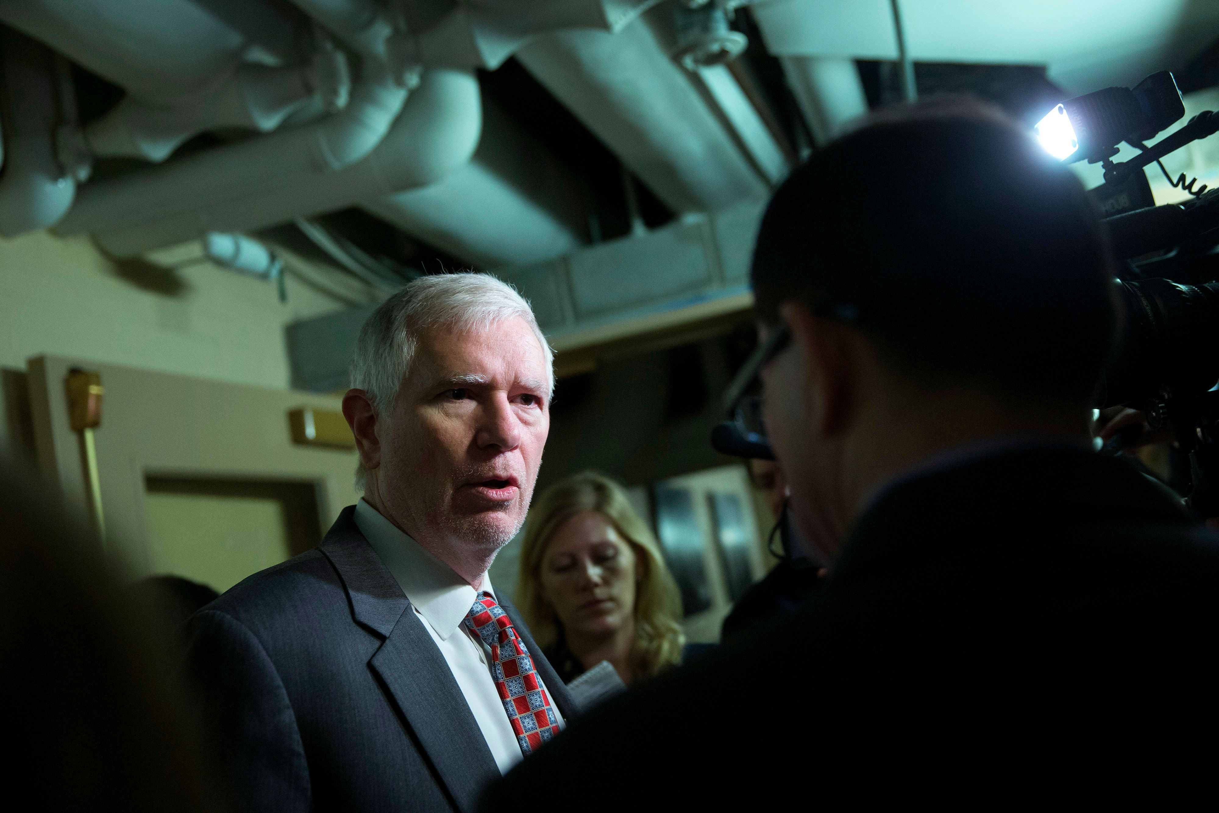 Representative Mo Brooks, a Republican from Alabama, speaks to reporters after a House Republican Conference meeting at the U.S. Capitol Building in Washington, D.C., U.S., on on Wednesday, Dec. 10, 2014. Congress will vote this week on a $1.1 trillion spending plan that would avert a U.S. government shutdown as Democrats agreed to roll back rules affecting banks, clean water and rest for truckers. Photographer: Andrew Harrer/Bloomberg via Getty Images