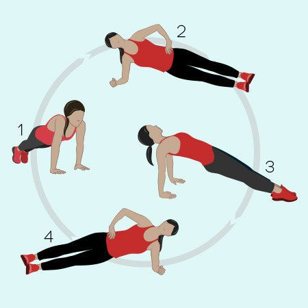 <strong>How to do Full-Circle Planks:</strong> Start in a plank position on either your hands or your forearms. Hold for 30 s