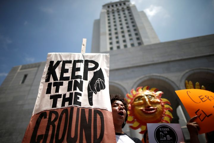 A protest against fracking and neighborhood oil drilling in Los Angeles on May 14, 2016.