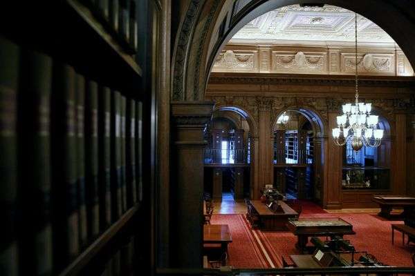 Carved oak walls and arches are seen in the reading area of the library at the U.S. Supreme Court in Washington, U.S. April 4