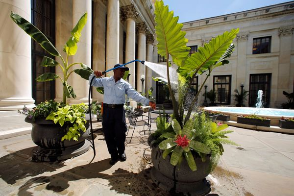 Daniel Agbleze waters flowers in one of the four inner courtyards at the Supreme Court in Washington, U.S. June 6, 2016.&nbsp