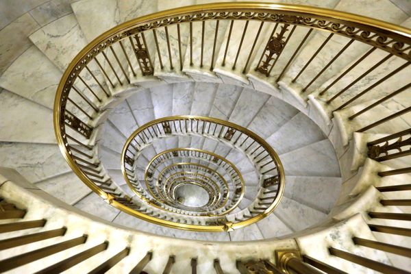 A circular staircase is seen in the U.S. Supreme Court building in Washington, U.S. January 28, 2016.