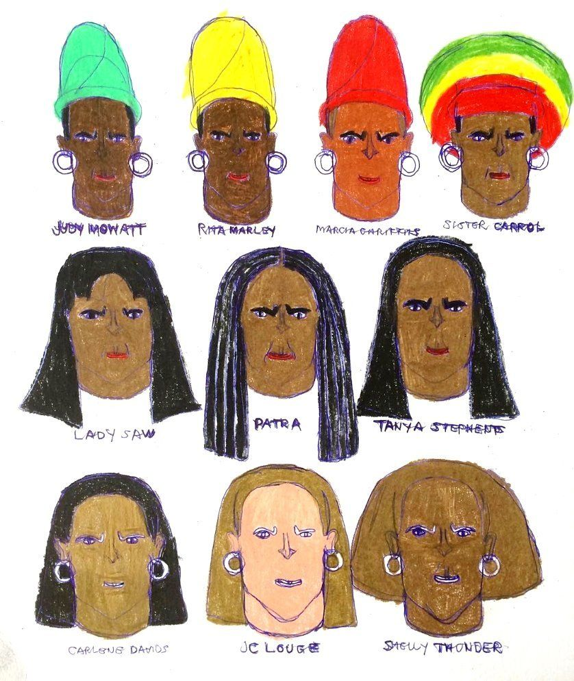Kenya Hanley, Reggae Ladies, 2016, Pencil on Paper