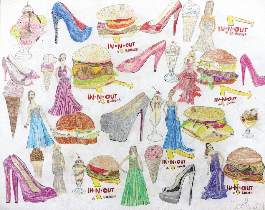 Nicole Appel, Burgers, Dresses and Heels, 2014, Pencil on Paper