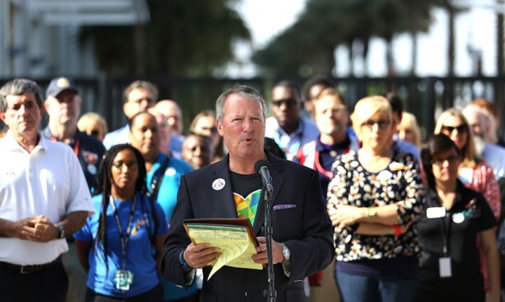 Orlando mayor Buddy Dyer delivers remarks during a press conference at Camping World Stadium, Friday, June 17, 2016 in Orland