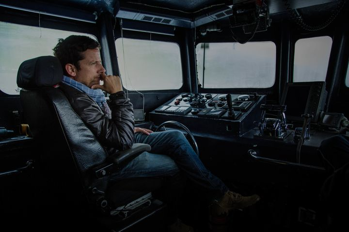 Actor and activist Ross McCall on board Sea Shepherd's MV Bridgitte Bardot, at the Faroe Islands in 2015. The islan