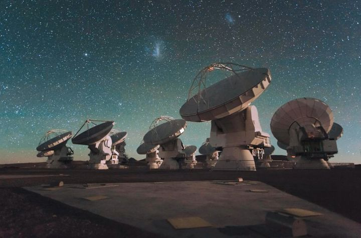 Scientists scan the night skies around Earth with special radio telescopes, like this array in Atacama, Chile.