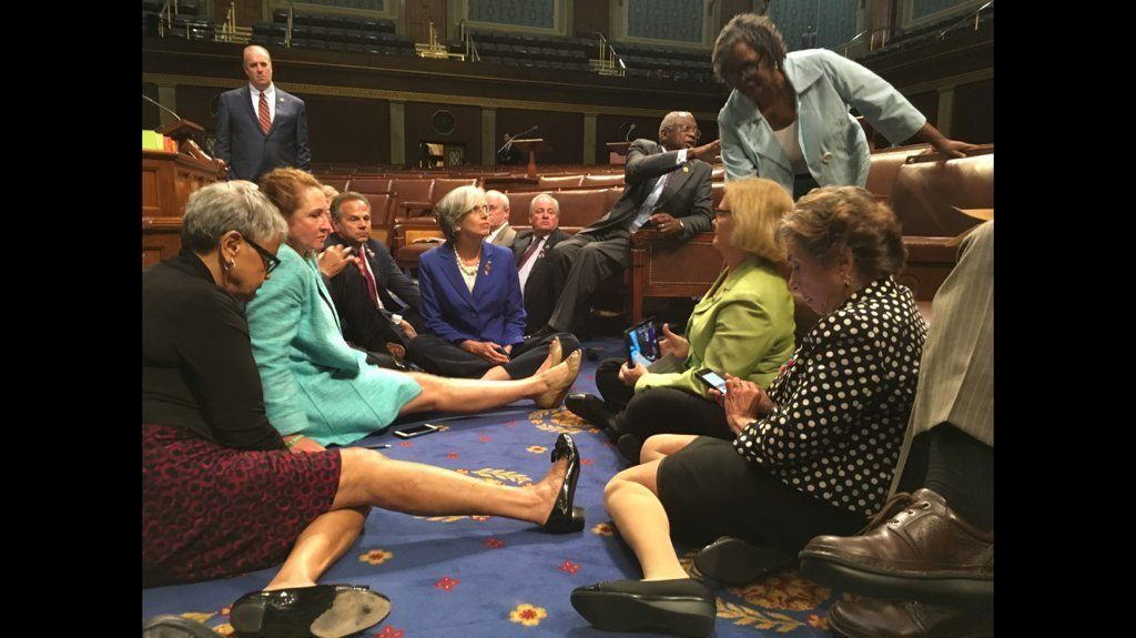 Democratic members of the house stage a sit-in on Wednesday June 22, 2016 to force a vote on gun control bills.