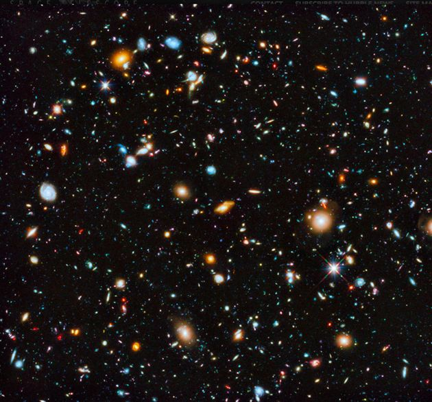 A breathtaking Hubble telescope image of a small portion of the night sky, showing about 10,000 galaxies,...