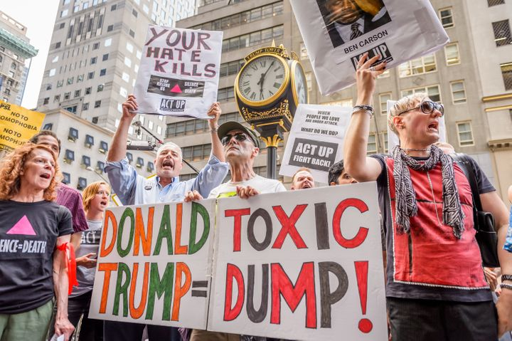 People protestin front of Trump tower in New York City against the presumptive Republican presidential nominee's use of