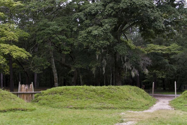 Reconstructed earthworks are seen at the site of Fort Raleigh, a fort built by English settlers of the Roanoke Colony.