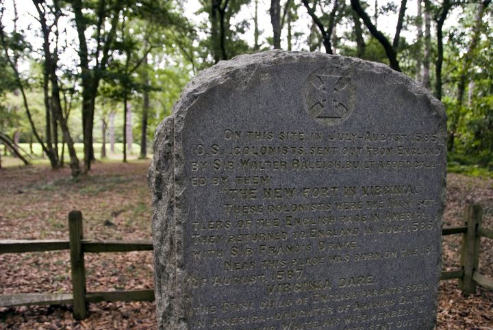 A stone marker is seen at the site of the so-called Lost Colony of Roanoke in present-day North Carolina.