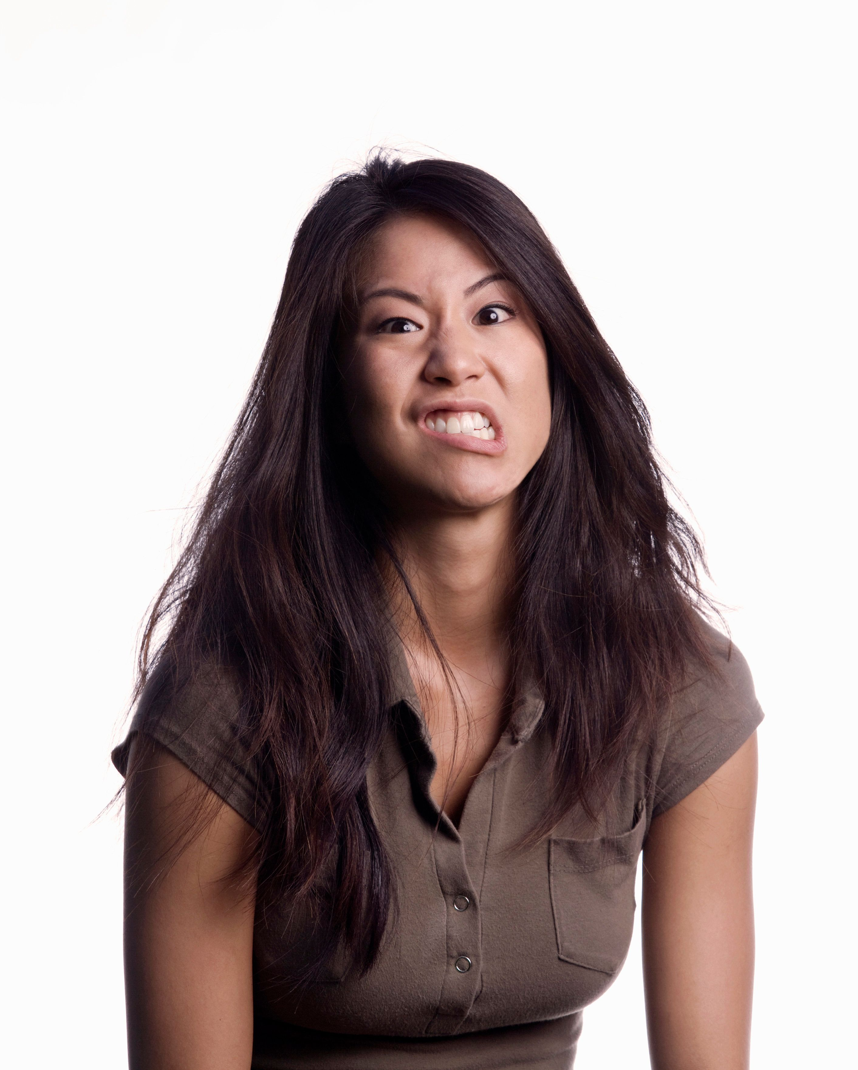 Asian woman making funny face