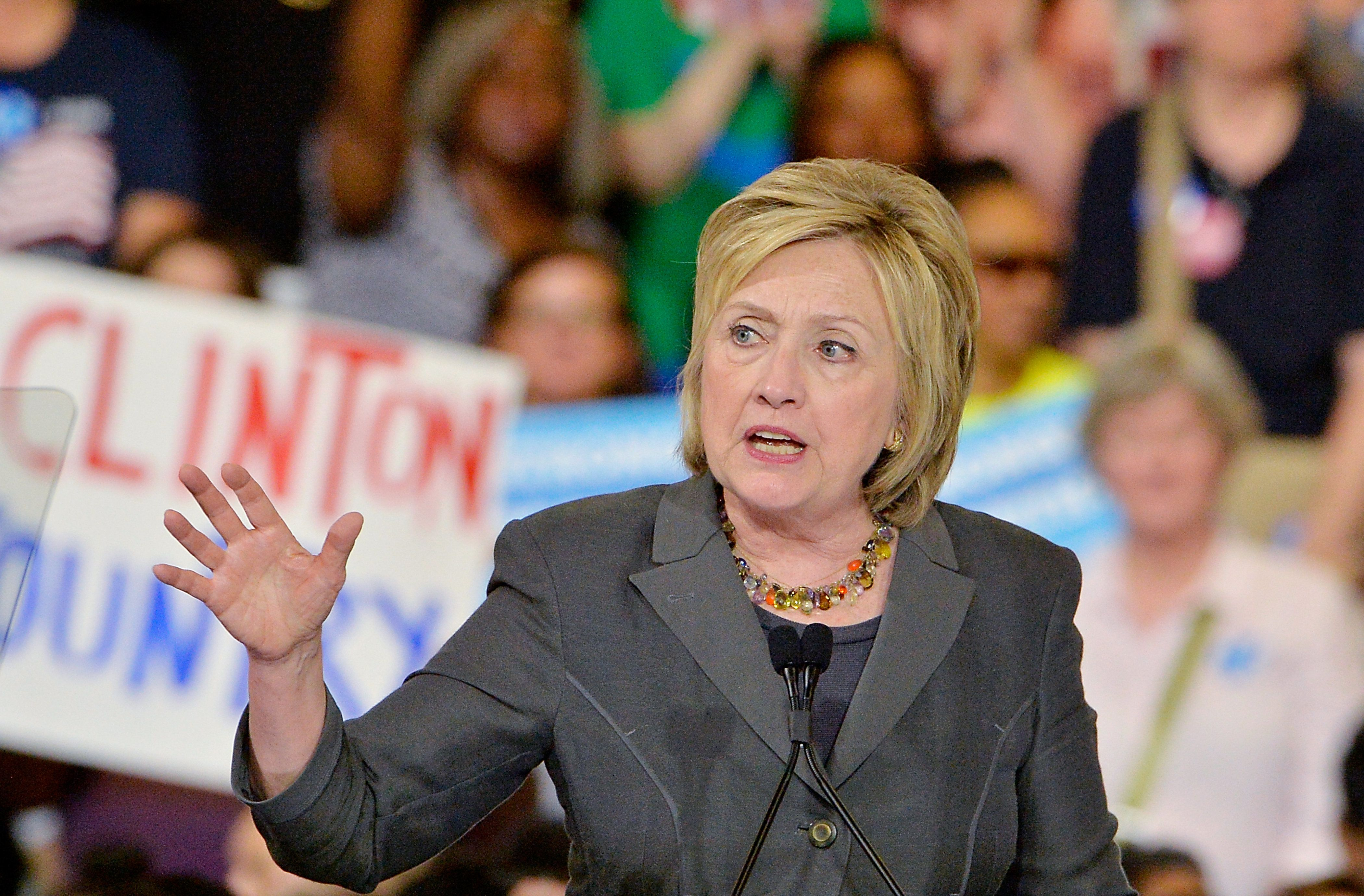 RALEIGH, NC - JUNE 22:  Presumptive Democratic presidential nominee Hillary Clinton speaks during a campaign event at the North Carolina State Fairgrounds on June 22, 2016 in Raleigh, North Carolina. Clinton discussed her vision for America in the future and the issues she would tackle if elected president. (Photo by Sara D. Davis/Getty Images)