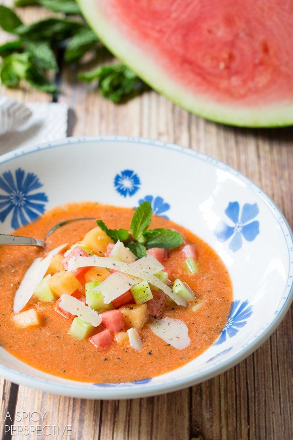 "<strong>Get the<a href=""http://www.aspicyperspective.com/watermelon-gazpacho-recipe/"" target=""_blank""> Cool Watermelon Gazpac"