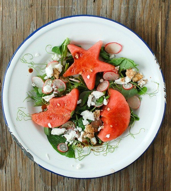 """<strong>Get the <a href=""""http://boulderlocavore.com/pea-shoot-watermelon-goat-cheese-salad-with-balsamic-drizzle/"""" target=""""_b"""