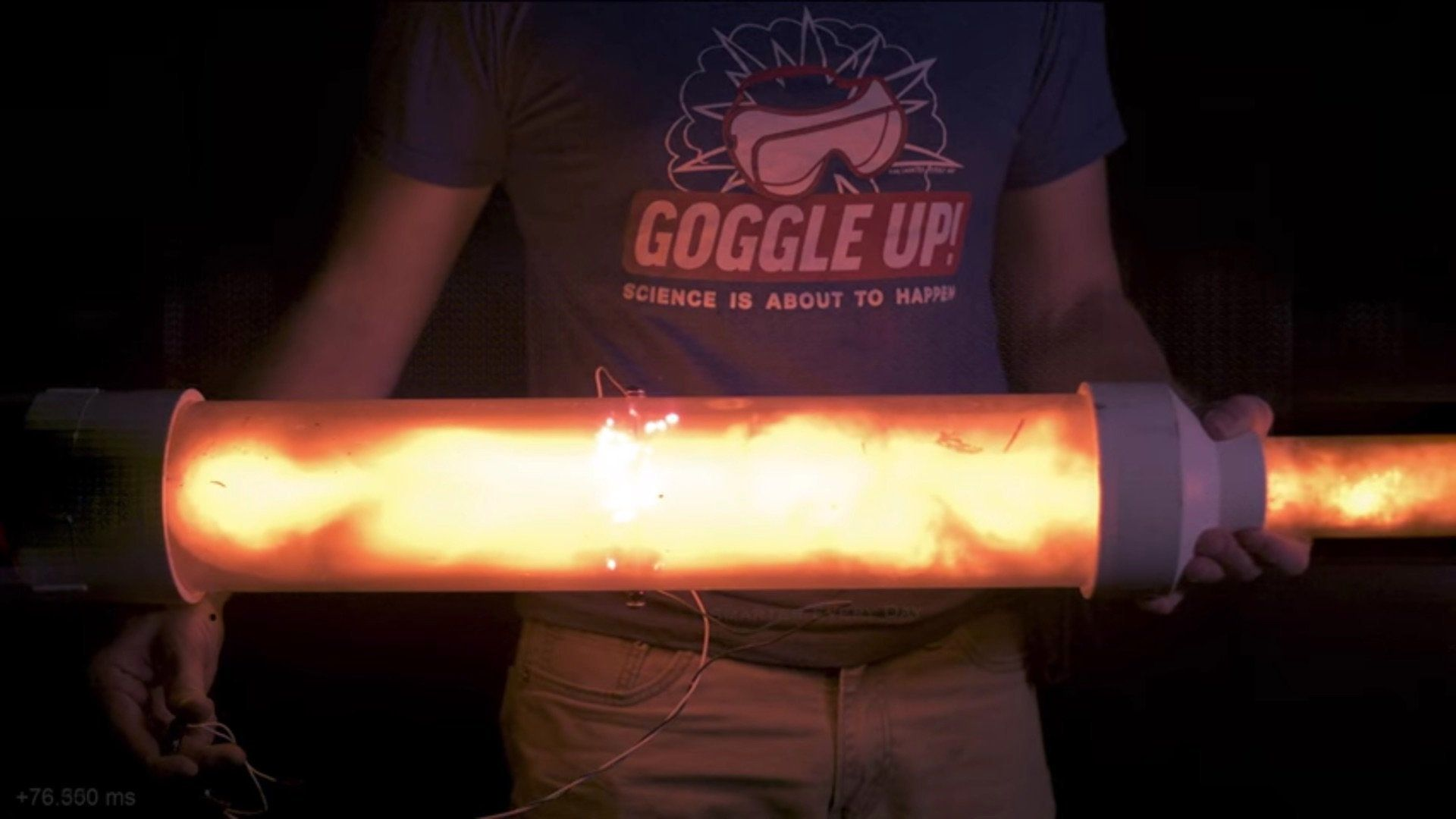 An explosion in a clear tube.