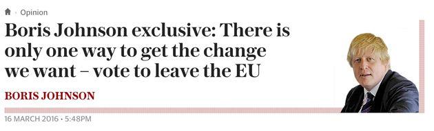 Boris Johnson Admits Writing Second Telegraph Column Backing
