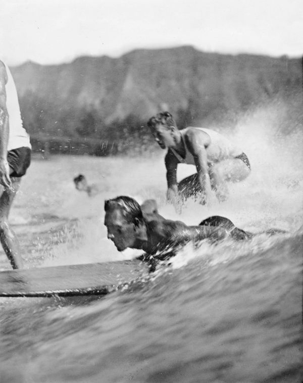 Surfers in Hawaii. (1940s)
