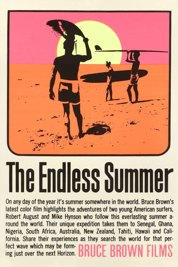 "A poster for the movie ""The Endless Summer,"" made by Bruce Brown Films, 1966. The film follows two surfers searching for"