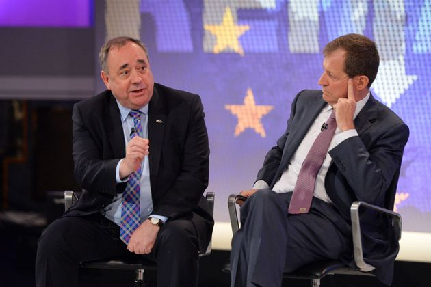Alex Salmond (left) and Alastair Campbell during the Channel 4 EU referendum