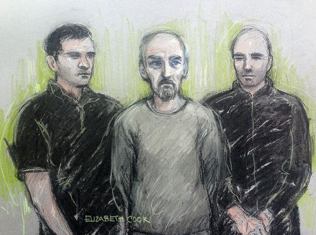 A court sketch of Thomas Mair during an earlier court