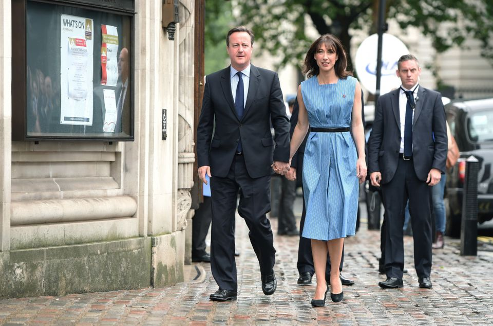 David and Samantha Cameron arrive to cast their vote in the EU referendum today at the Methodist Hall,