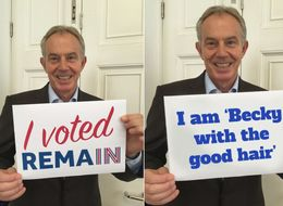Tony Blair Held Up A Sign After Voting Remain And It Didn't Go As Planned