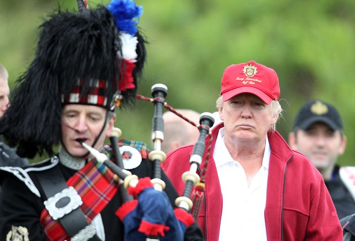 Donald Trump arrives for the opening of The Trump International Golf Links Course on July 10, 2012 in Balmedie, Scotland.