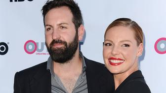 WEST HOLLYWOOD, CA - JULY 10:  Actress Katherine Heigl (R) and husband Josh Kelley attend the premiere of 'Jenny's Wedding' at the 2015 Outfest Los Angeles LGBT Film Festival at Directors Guild Of America on July 10, 2015 in West Hollywood, California.  (Photo by Jason LaVeris/FilmMagic)