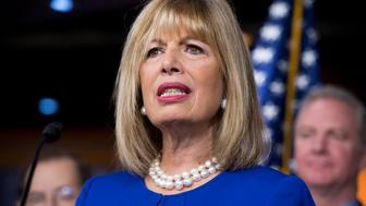 UNITED STATES - JANUARY 06: Rep. Jackie Speier, D-Calif., attends a news conference in the Capitol Visitor Center to oppose efforts to defund women's health care, January 6, 2016. (Photo By Tom Williams/CQ Roll Call)